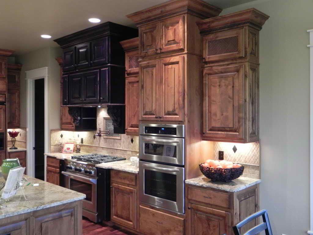 Knotty Alder Cabinets Dark Stain | Alder cabinets, Knotty ...