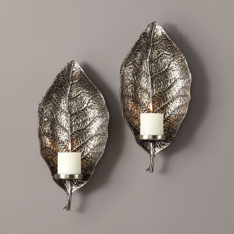 Zelkova Leaf Wall Sconces Set of 2   Silver wall decor ... on Silver Wall Sconces For Candles id=14078