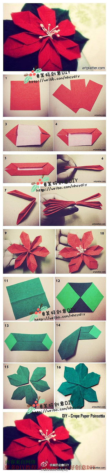 Origami Poinsettia Folding Instructions Origami Instruction
