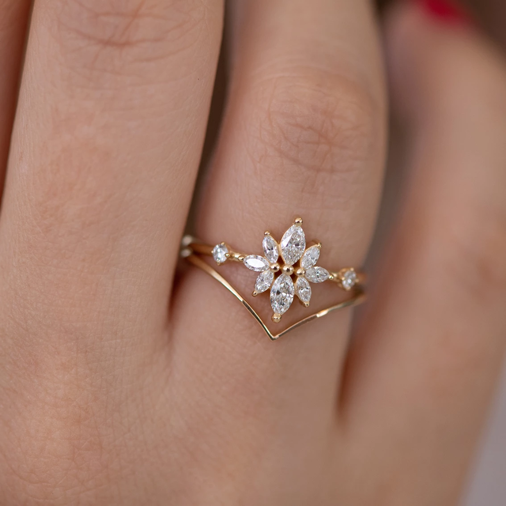 Diamond Flower Cluster Ring #aquamarineengagementring