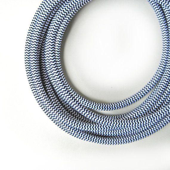 Black & White Chevron Fabric Cloth Covered Wire Electrical Cord ...