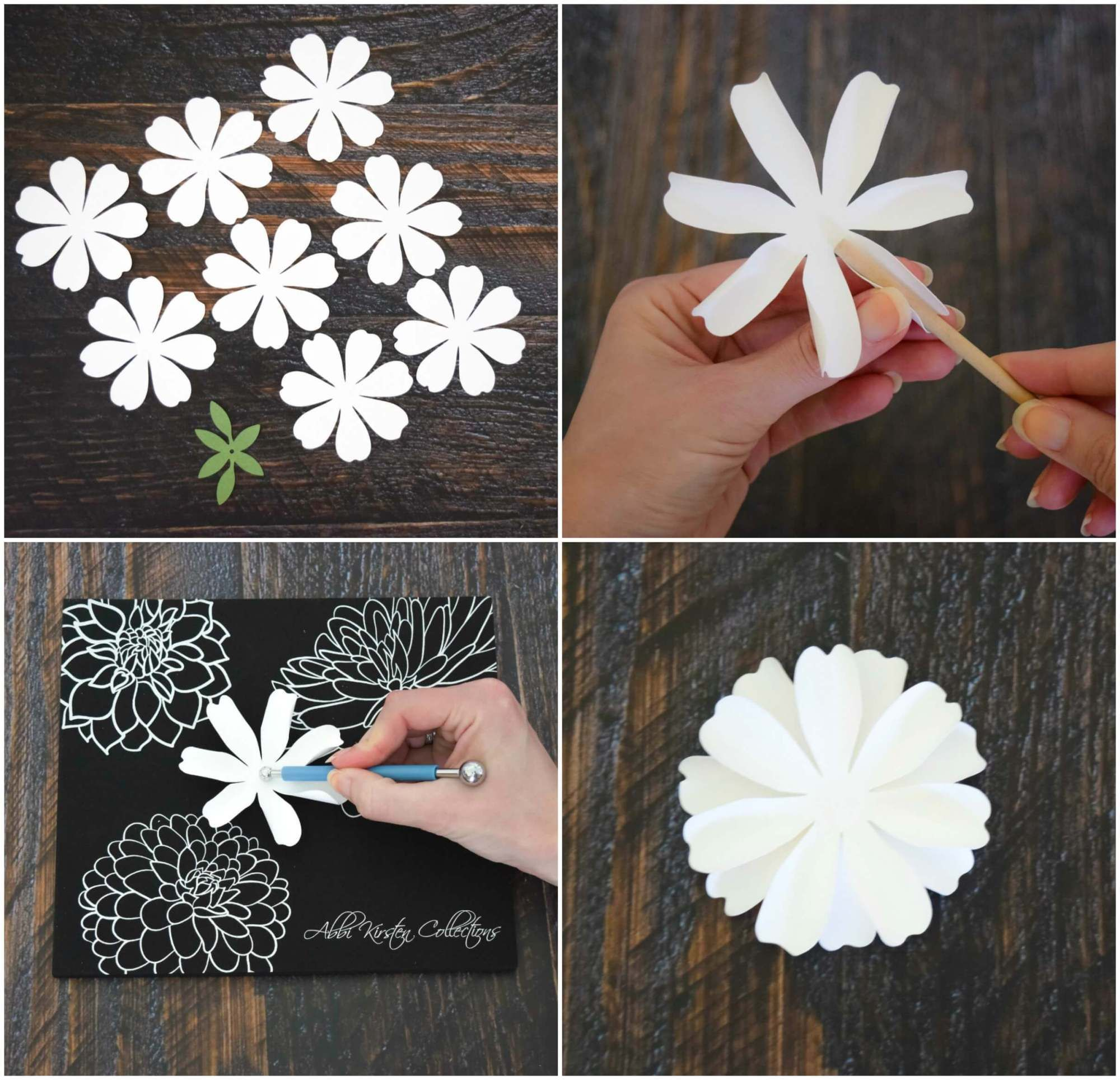 How To Make Paper Dahlia Flowers Small Paper Flower Tutorial Paper Flower Tutorial Paper Dahlia Paper Flowers Diy