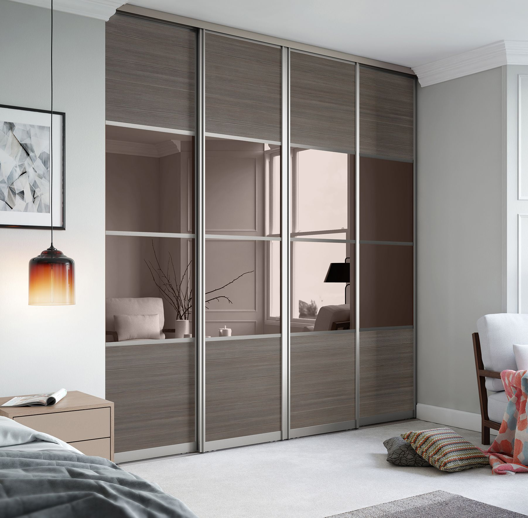 Signature 4 panel sliding wardrobe doors in Wild Wood and Bronze Mirror with Nickel frame