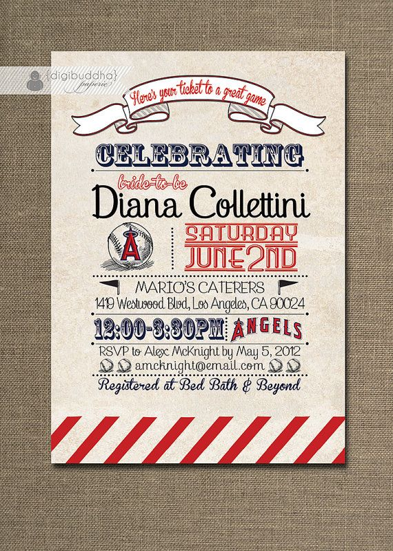 Angels Bridal Shower Invitation Baseball Anaheim Los Angeles Vintage
