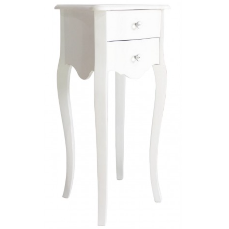 White Wooden Two Drawer Lamp Table   Tall U2013 Allissias Attic U0026 Vintage  French Style
