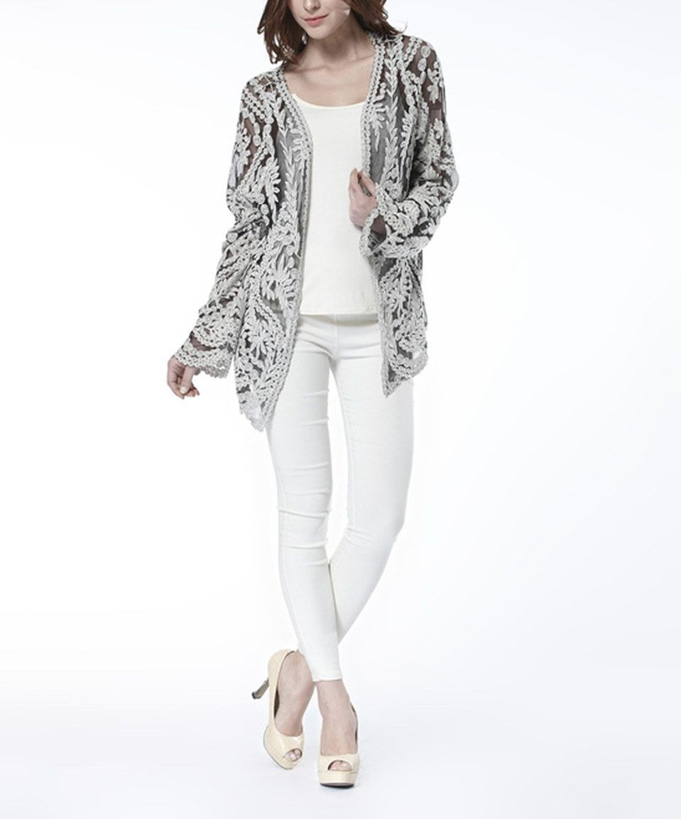 Look at this #zulilyfind! Simply Couture Gray Lace Open Cardigan ...