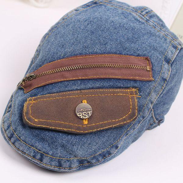 a357bfa1 Unisex Denim Jeans Washed Zipper Pocket Decoration Newsboy Beret Hat  Duckbill Golf Buckle Cabbie Cap