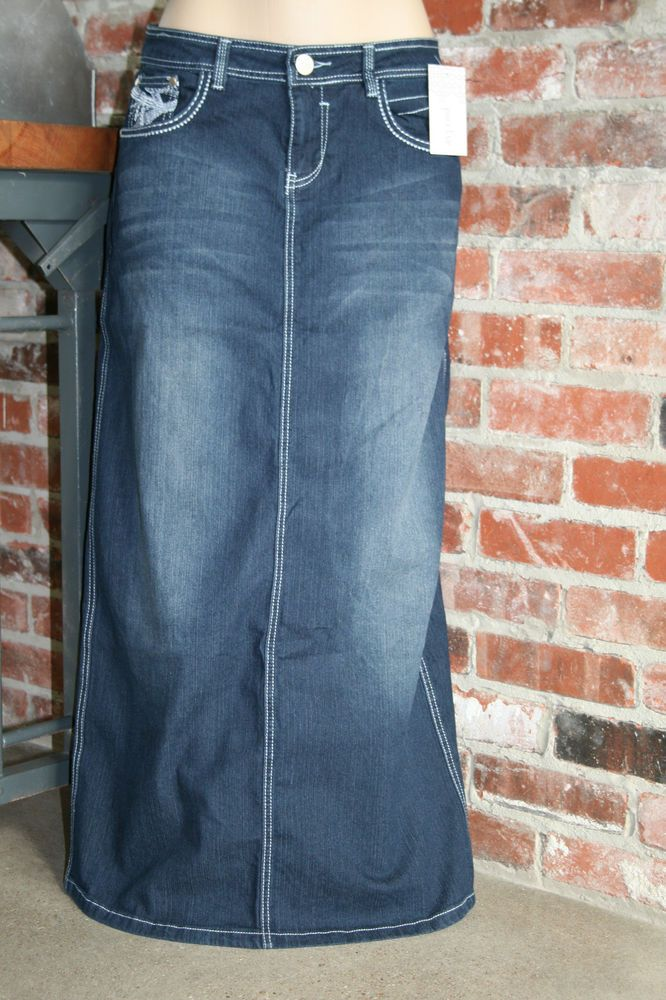 NEW~PAXTON JEANS~LONG Straight DENIM SKIRT~2/4 5/6 7/8 9/10 11/12 ...