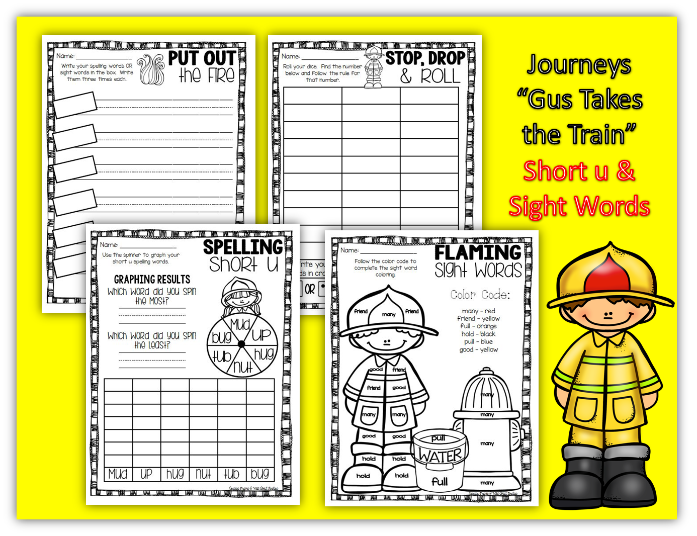 fire safety week journeys gus takes the train word work activities with short u spelling and. Black Bedroom Furniture Sets. Home Design Ideas