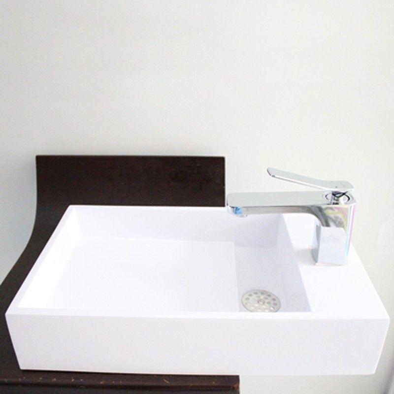 Lave Main Avec Porte Serviette Composite Blanc Mat 50x30 Cm Wishes Lave Main Lave Suspendu