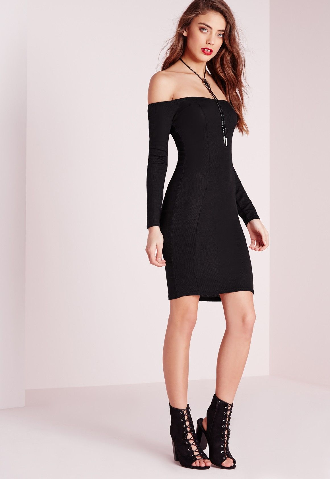 98ca0ccf3117 Missguided - Ribbed Jersey Long Sleeve Bardot Bodycon Dress Black ...