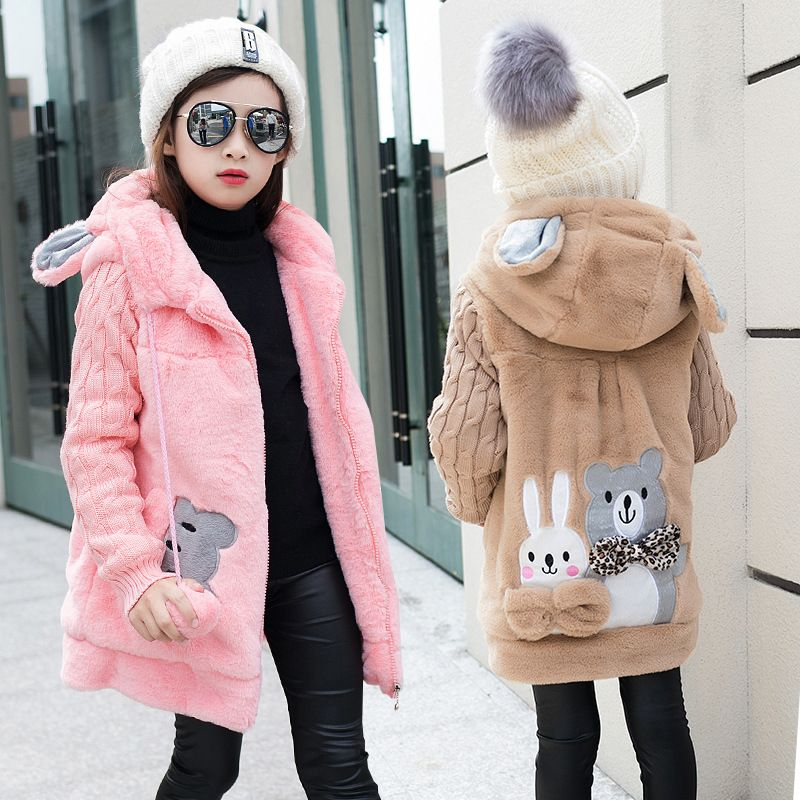 4d11276a5 Winter Girls Jackets Faux Fur Fleece Coats Warm Jacket Girl Lovely ...