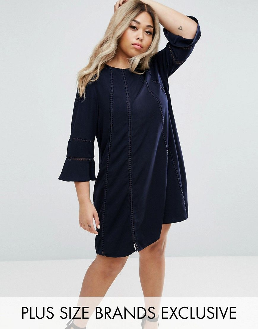 Truly you fluted sleeve shift dress navy flutes and products