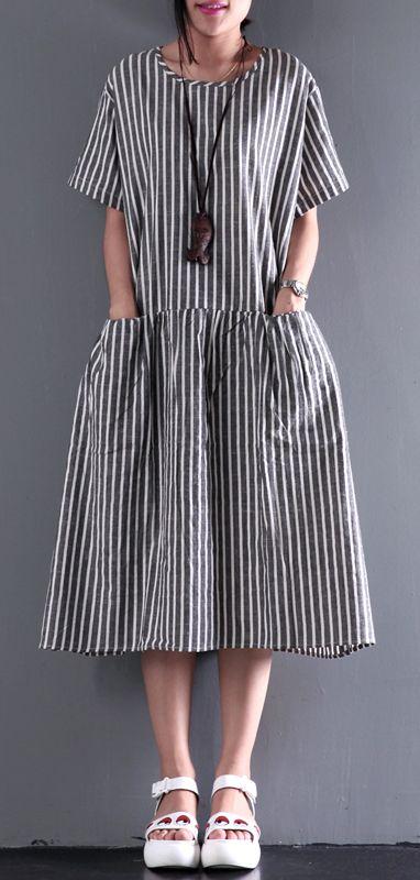 2017 new summer linen dress elastic waist sundresses