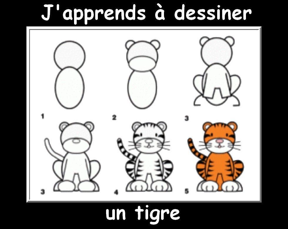 Des fiches j 39 apprends dessiner les animaux activit enfant pinterest fiches les animaux - Dessin de tigre facile ...