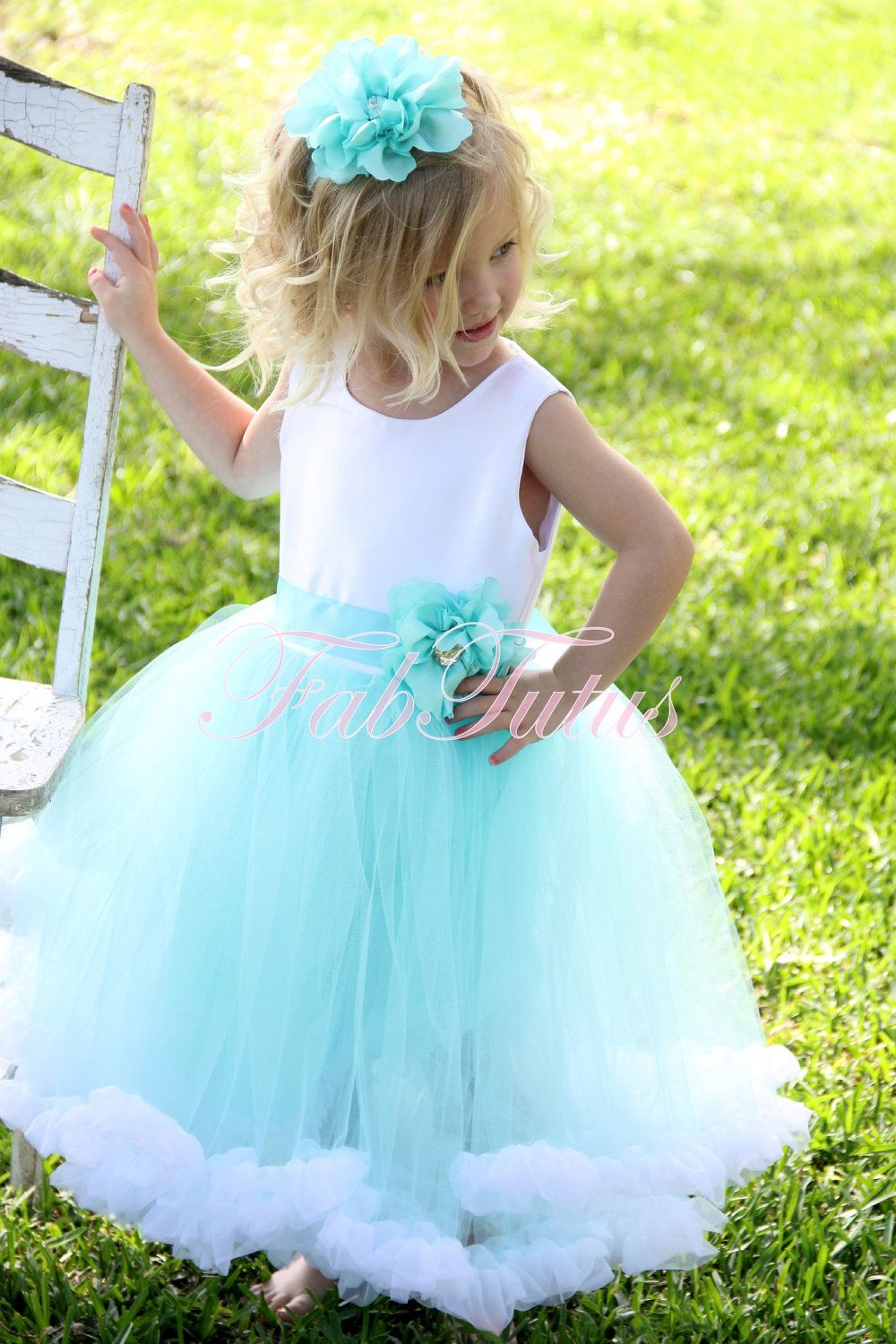 Items Similar To Couture Aqua Robbins Egg Blue Flower Girl
