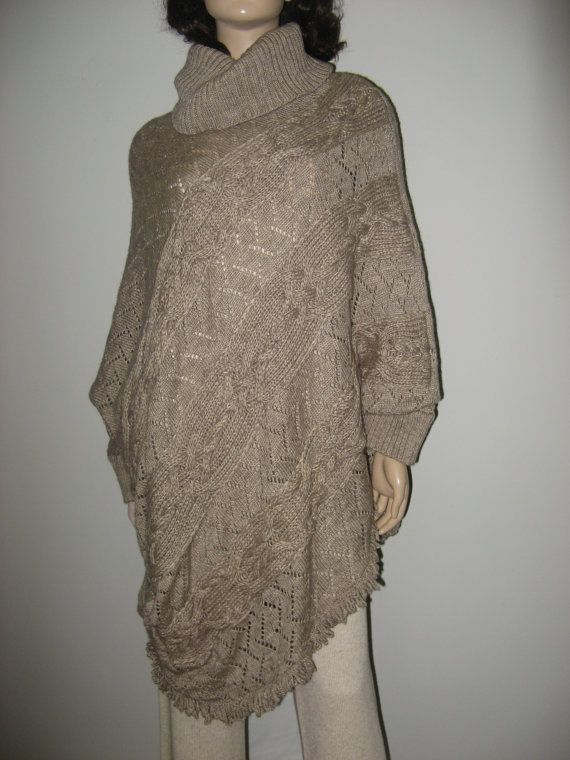 Look ! This tremendous Beige Cable Knitted Poncho-tunic Woolen Winter sweater is made of alpaca woolen yarn, very warm and mod! The handknitted front part  of this chunky s... #rusteam #ukrteam
