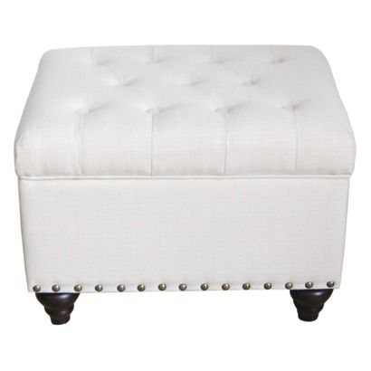 Threshold Tufted Storage Ottoman Bench With Nailhead Trim In Ivory