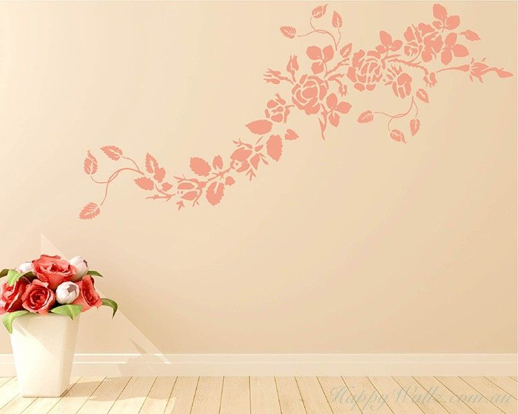 Rose Flower Vines Decal Diy Wall Decals Simple Wall Art Wall