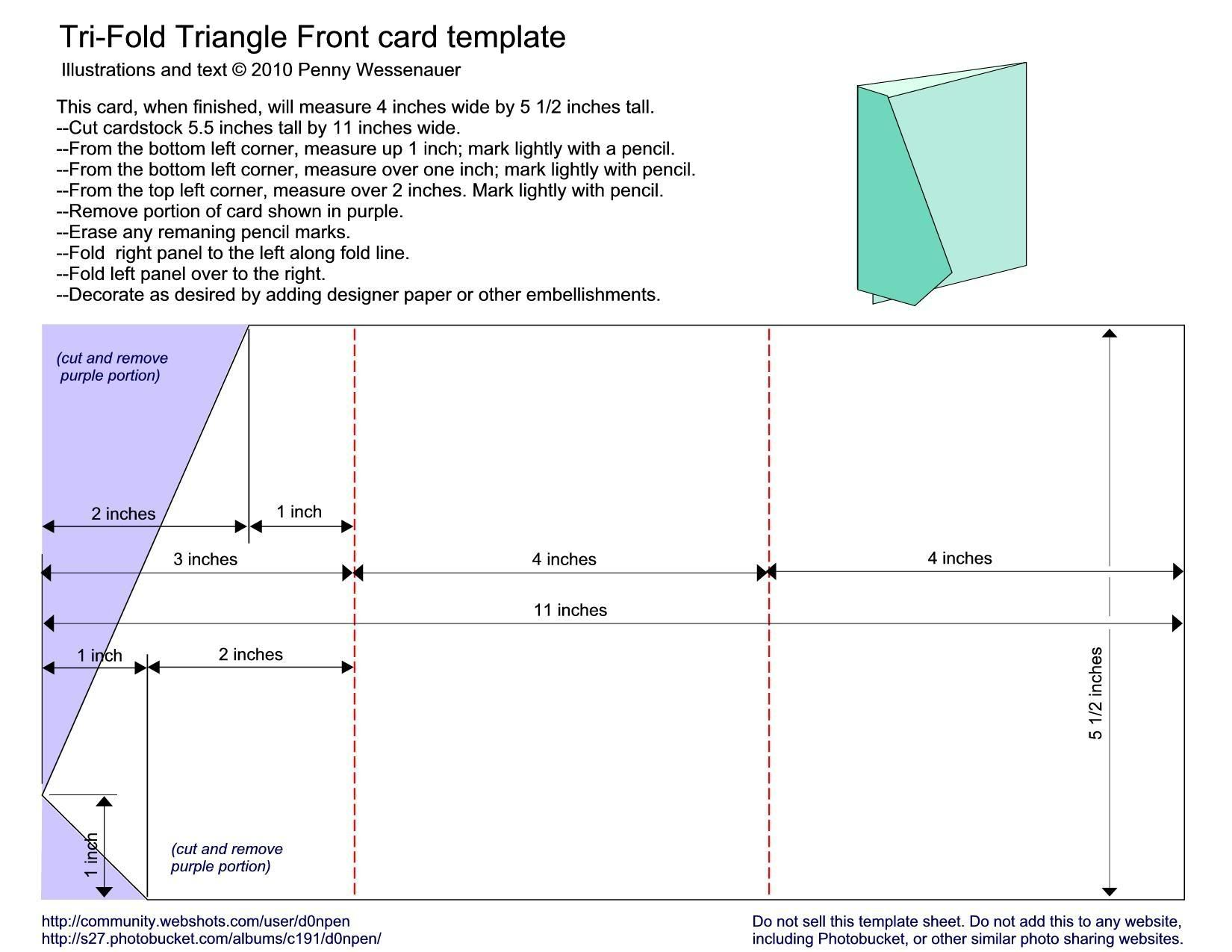 Trifold Triangle Front Card Making Templates Card Templates Tri Fold Cards