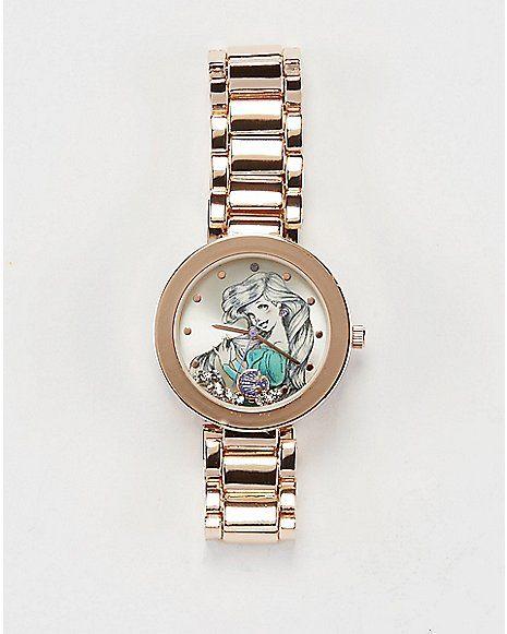 Disney Ariel Sketch Gold Bullet Band Watch - Spencer's