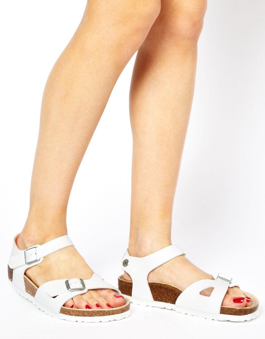 635b11d93e409a Birkenstock Rio 2 Strap White Sandals