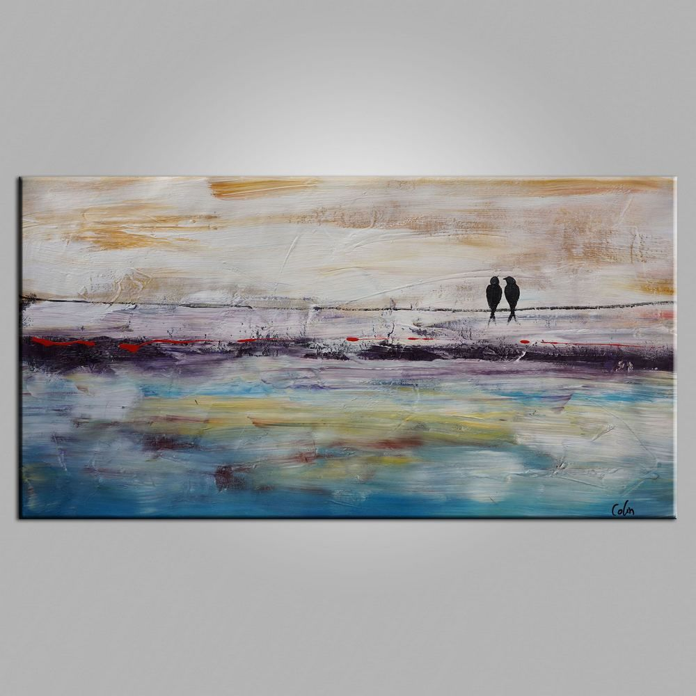 Abstract Painting Dining Room Wall Art Love Birds Canvas