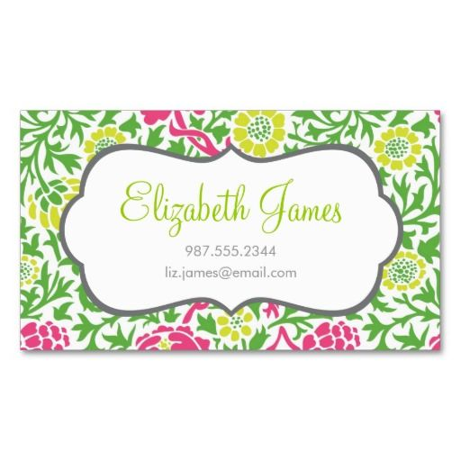 Green And Pink Retro Floral Damask Business Card Floral Business