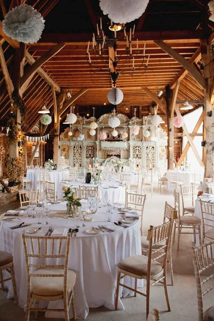 Barn Reception with White Tables