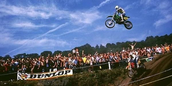 Georges Jobe jumping over Andre Malherbe is one of the greatest motocross images ever made. Taken at the 1984 British 500cc Grand Prix at Hawkstone Park