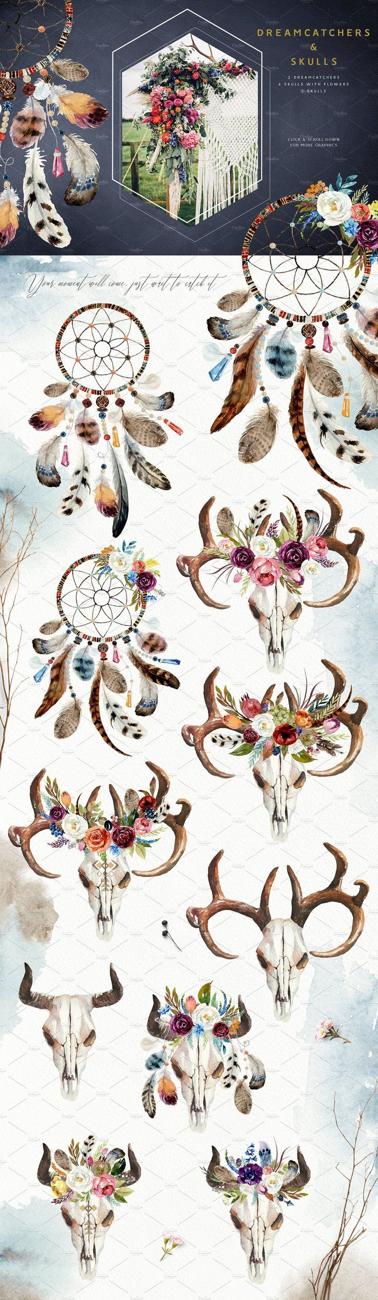 born to be wild design boho set pinterest flower clipart watercolor design and header [ 736 x 2527 Pixel ]