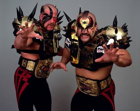 Rare pic of the Legion of Doom with their gold spiked shoulder pads. | The road  warriors, Professional wrestling, Wrestling superstars