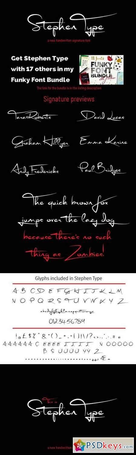 Signature font - Stephen Type - logo 233632 | Летеринг