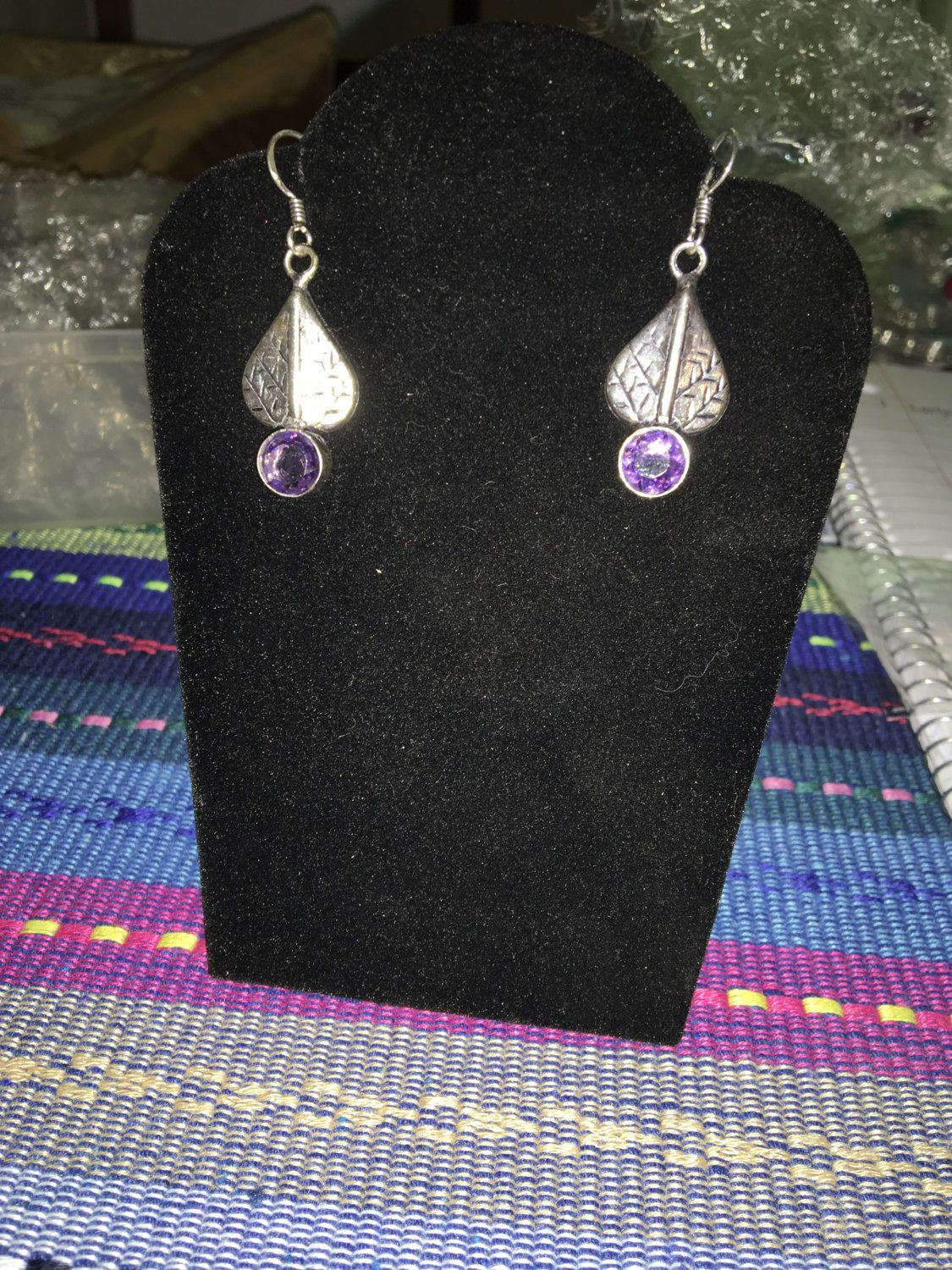 Amethyst Leaf Dangle 925 Silver Earrings By Toocuteboutiqueco On Etsy