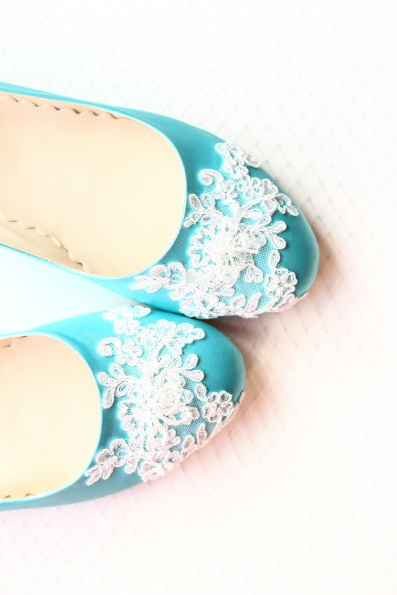 10b53d450965 Wedding Flat Shoes Turquoise Satin Bridal Ballet Flats with Beaded Lace  Bride Engagement Special Night Size 8 (US)