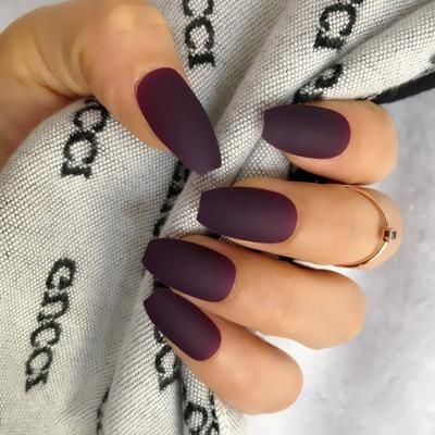 Wholesale Coffin Fake Nails Matte Wine Red Frosted Coffin Nails Matte Fake Nails Nail Length