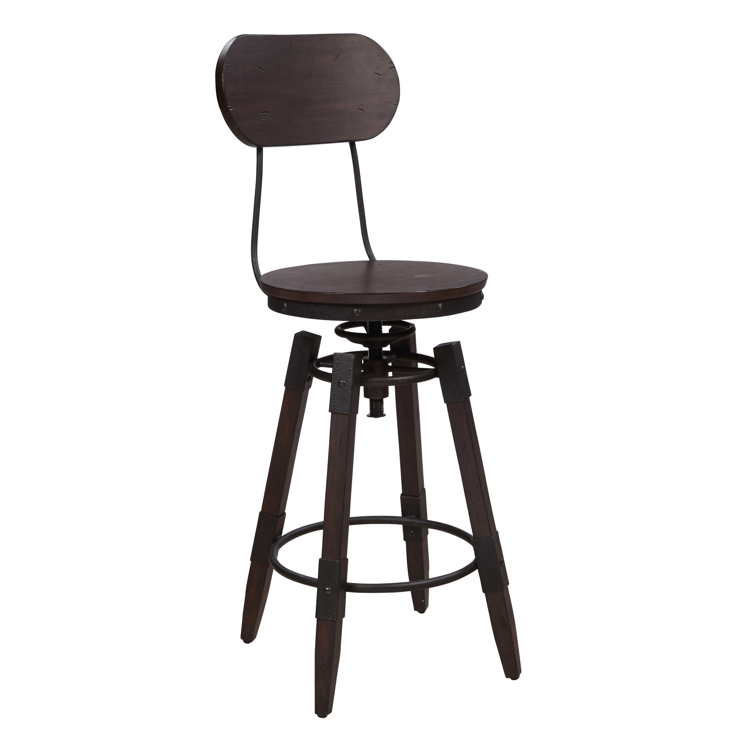 Vintage Industrial Style Swivel Chocolate Bar Stool Industrial