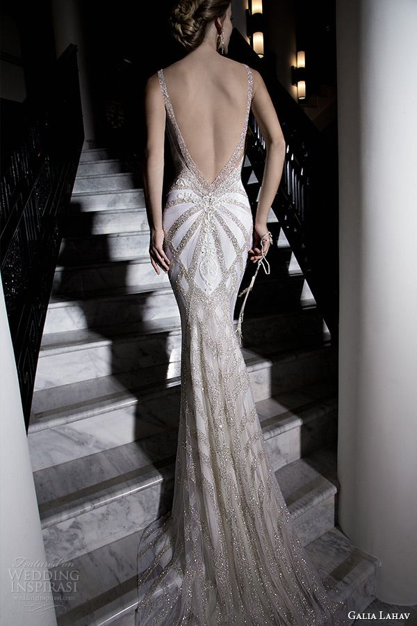 Galia Lahav 2015 Jazz Age Wedding Dress Embroidered Strap Plunging Neckline Corset Bodice Ivory Low Cut