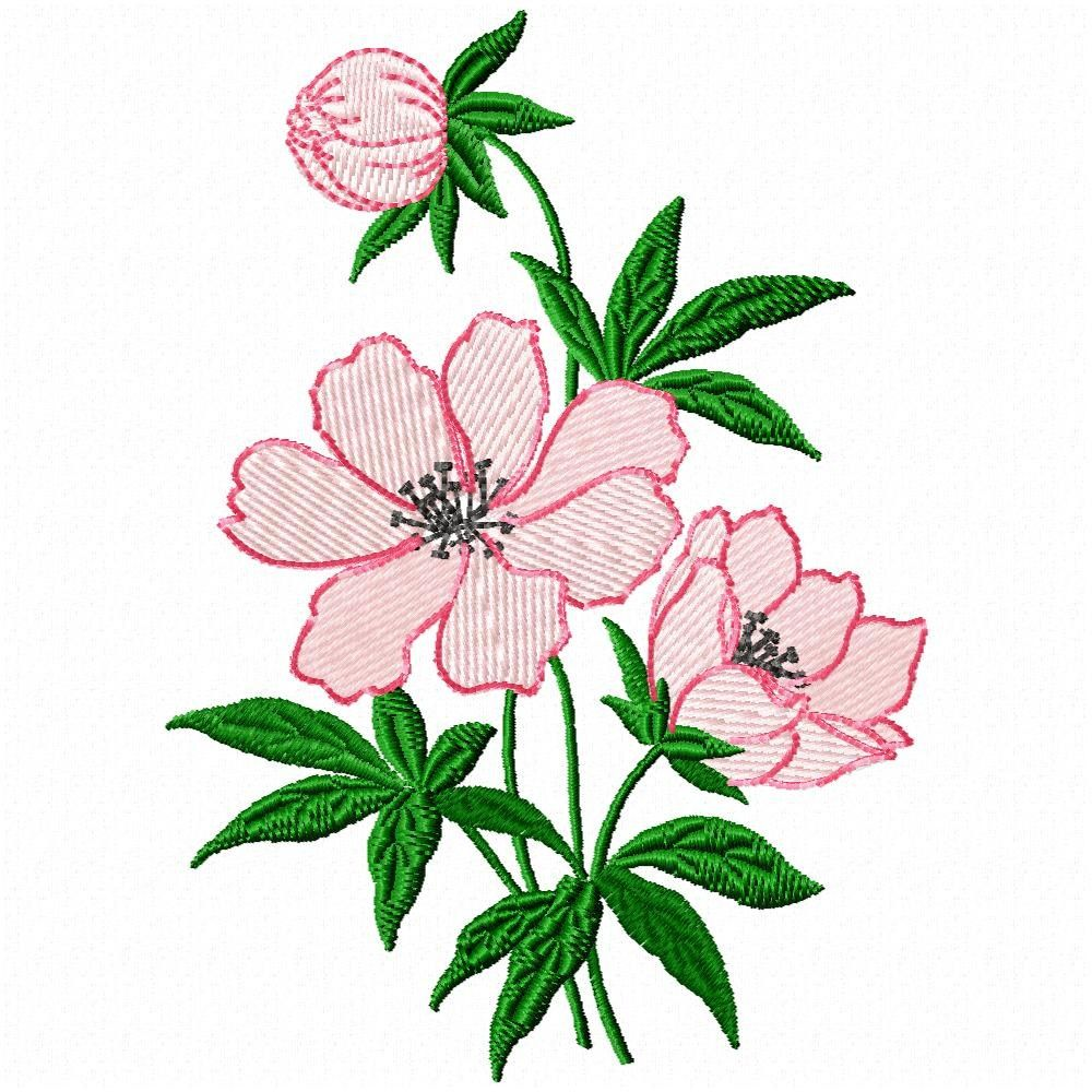 Single peony flower embroidery design for machine