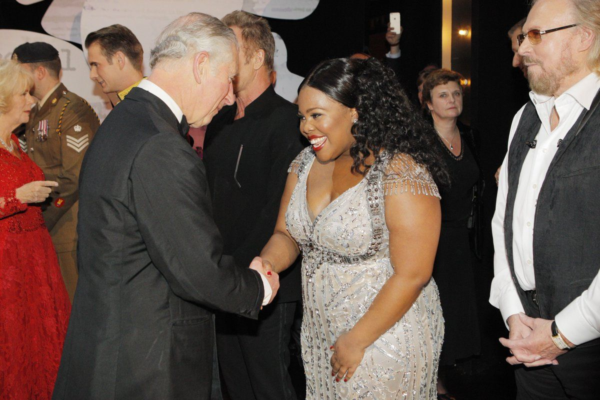 Prince Charles Greeting Msamberpriley After The Royal Variety Performance Beaded Gown Amber Riley Celebrities
