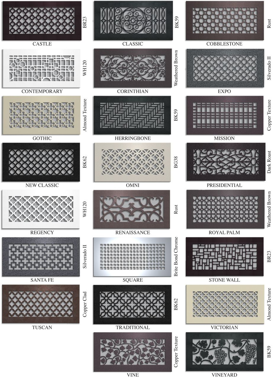 metal in designs as decorative grill wall and decor with well conjunction covers vent grilles registers