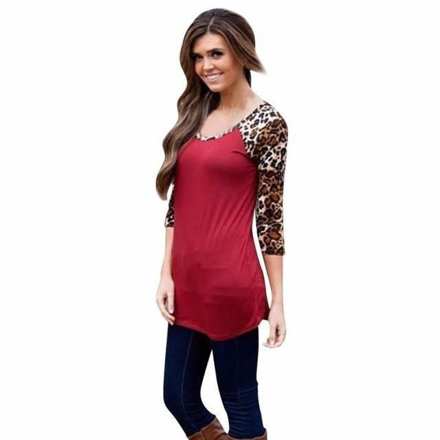 Women T Shirts Loose Long Sleeve Leopard Prin Women Top