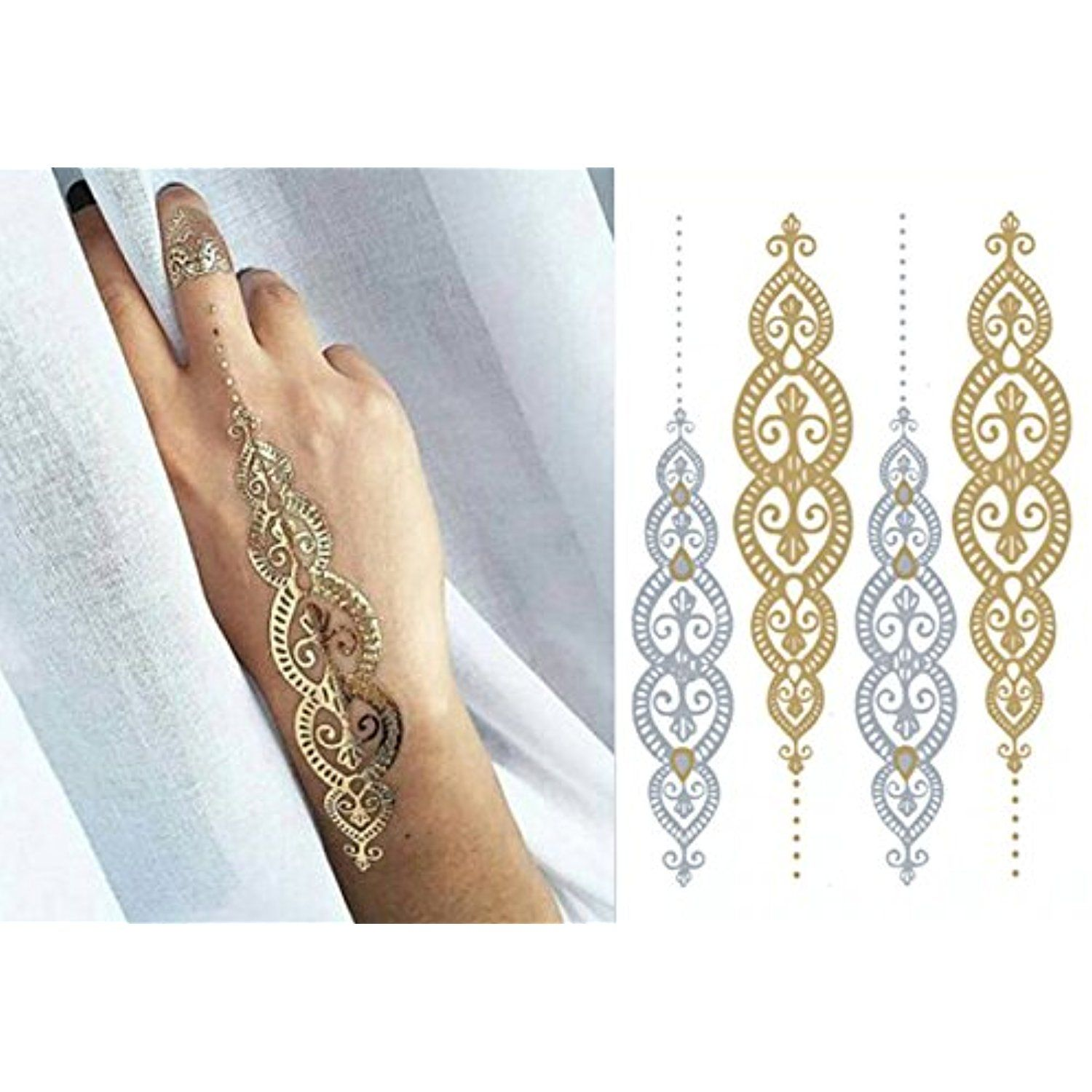 Golden Metallic Gold Body Art Temporary Removable Tattoo Stickers Golden Pattern Tatt1243 Sticker Tattoo Fashiondanci Golden Pattern Body Art Tattoo Stickers