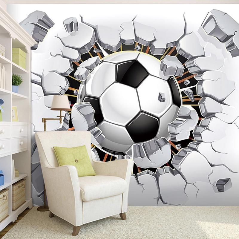 3d soccer sport wallpaper mural illusion 3d art pinterest kinderzimmer tapeten and. Black Bedroom Furniture Sets. Home Design Ideas