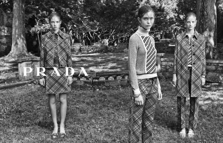 Prada Resort 2015 Models: Adrienne Jüliger, Ine Neefs, Moya Palk Photographer: Steven Meisel