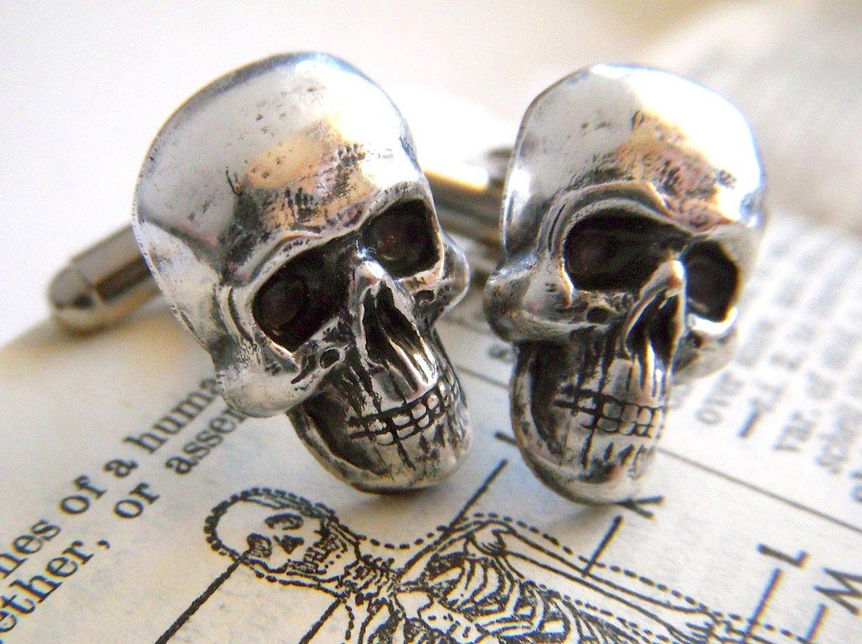 Men's Cufflinks Skull Head Silver Plated Cuff Links Gothic Victorian Steampunk Style Vintage Inspired
