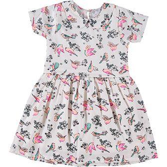Cream Bird Patterned Dress