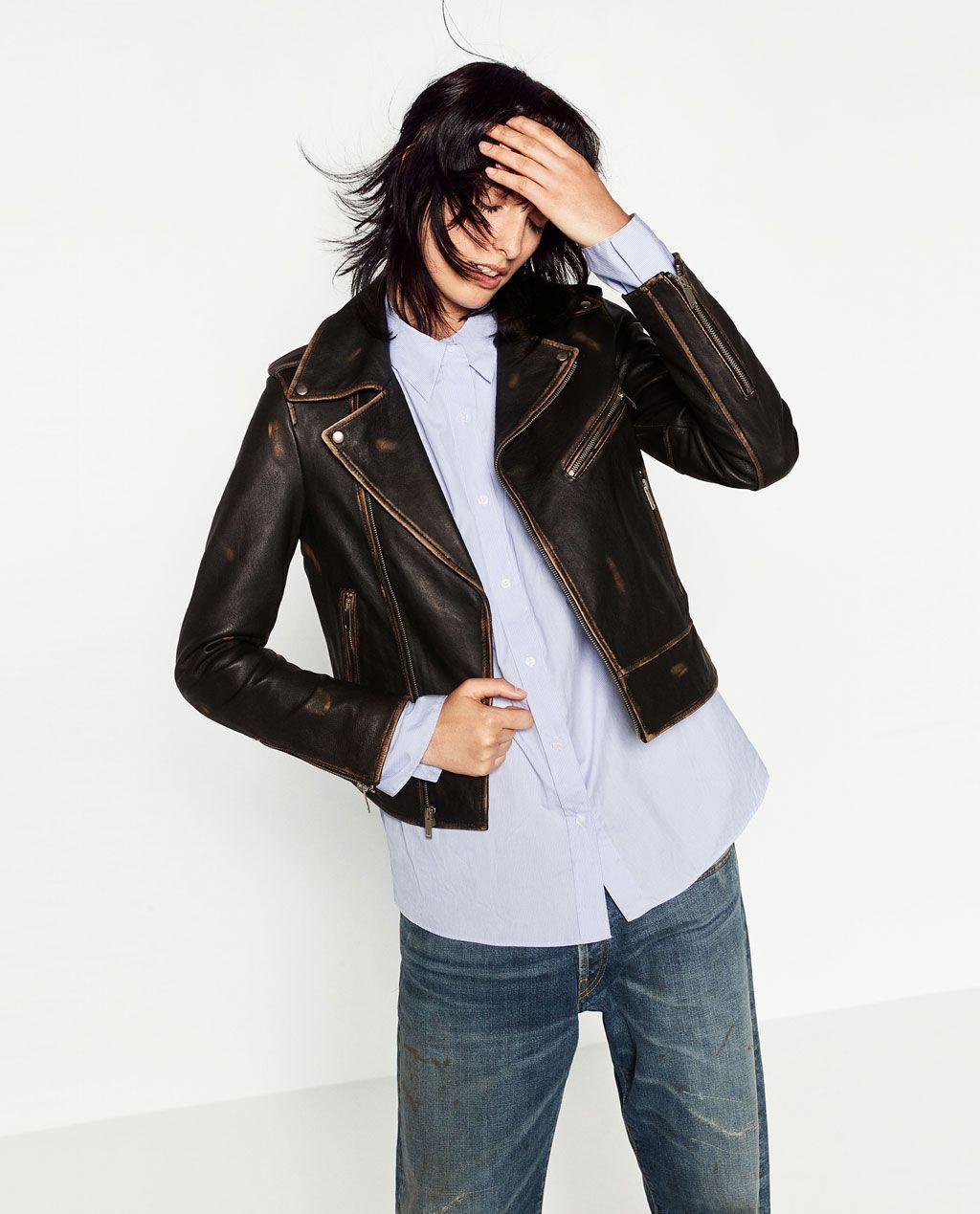 Zara Woman Leather Jacket Distressed Leather Jacket Fashion Leather Jacket [ 1269 x 1024 Pixel ]