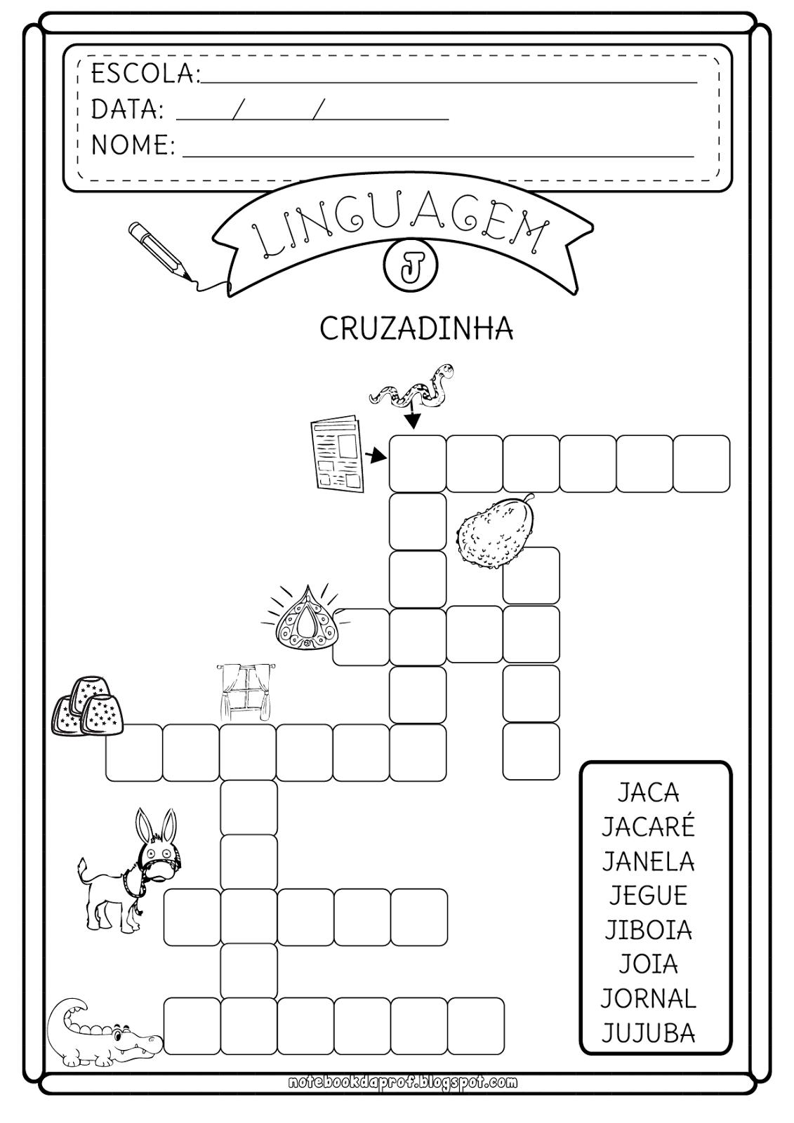 Atividades Letra J - Cruzadinha e Caça-palavras | marnise 3 ...
