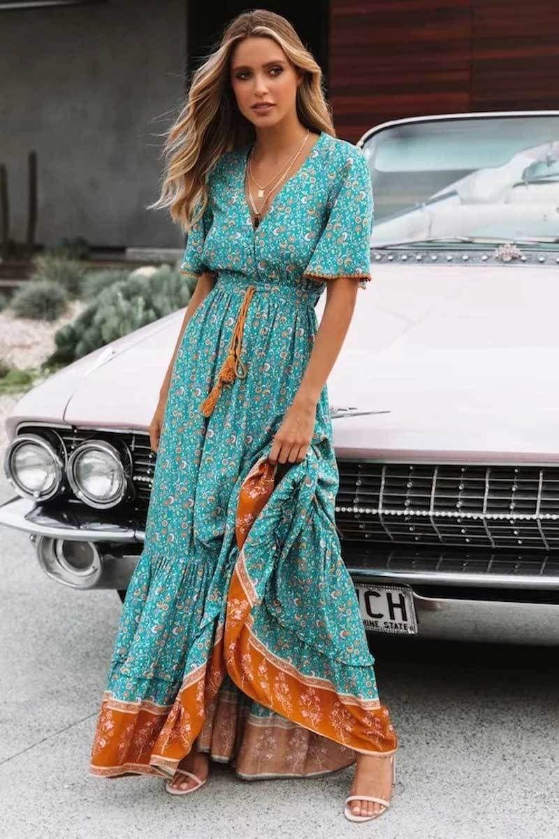 Boho Floral Print Button Down Dress Boho Dress Beach Dress Summer Dress Maxi Dress Chic Dress Long Dr Boho Outfits Floral Print Maxi Dress Boho Maxi Dress [ 1200 x 800 Pixel ]